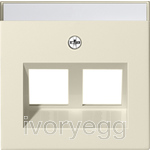 Cover plate with 30¡ angled socket outlet and inscription field for Modular Jack support ring - cream white glossy