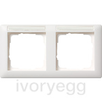 Cover frame, 2-gang Inscr. sp., horiz. Standard 55 pure white matt