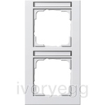 Cover frame, 2-gang inscription space, vertical Gira E2 pure white matt