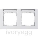 Cover frame, 2-gang inscription space, horizontal Gira E2 pure white