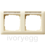 Cover frame, 2-gang inscription space, horizontal Standard 55 cream white