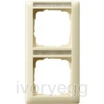 Cover frame, 2-gang inscription space, vertical Standard 55 cream white