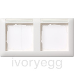 Cover frame, 2-gang inscription space, horizontal Standard 55 pure white