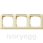Cover frame, 3-gang inscription space, horizontal Standard 55 cream white