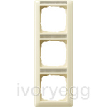 Cover frame, 3-gang inscription space, vertical Standard 55 cream white