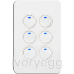 Silhouette Tactile Switch KNX 6Gang LED WH