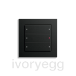 KNX Comfort 3-gang switch 6 buttons E2 flat matt black frame