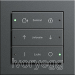 KNX Comfort 3-gang switch 6 buttons E2 Anthracite matt frame with laser inscribed