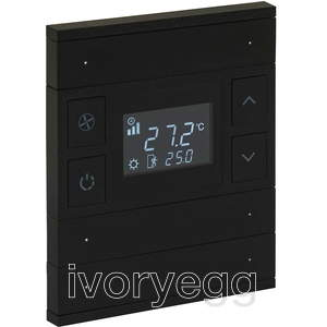 KNX Oria Thermostat 3 Fold Anthracite Black Glass Front Status.