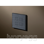 4 Button Squares KNX Keypad Gunpowder Black (Fusain) with RGB LED and RTC