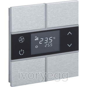 KNX Rosa Metal Thermostat 2 fold Natural Status No_Icon