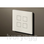 4 Button Squares KNX Keypad Matt White RAL9010 with RGB LED and RTC