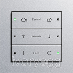 E2-series complete KNX switch 6-button -  Aluminium with inscriptions